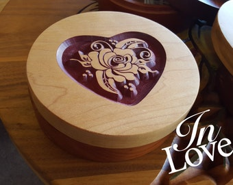 """Beautiful Heart Curio Box for Storing your little personal Things... This 6"""" Round Wood Box is Perfect for Storing your Change or Jewelry"""