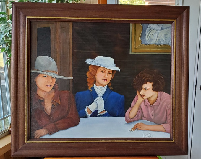 Little Sister's Problem  - A realistic Oil painting on canvas of old west women