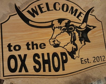 Personalized Longhorn Sign/Plaque Carved wood Hand painted Customized Made in USA for Country Farmhouse or Ranch Rustic Style
