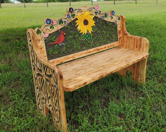 Red Bird / Sunflower Garden or Porch Bench - Carved Pine Wood - Country Farmhouse - Rustic Ranch Decor - Hand painted - Original Design