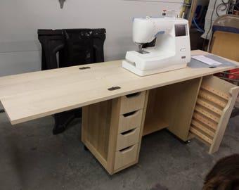 Beautiful Hardwood Foldout Top Sewing Cabinet