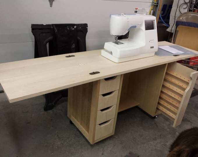 Beautiful Hardwood Foldout Top Sewing Cabinet