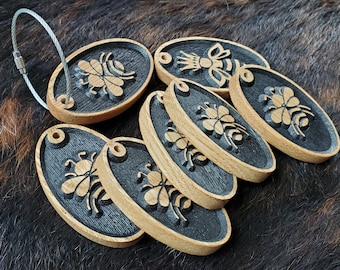 Carved Wooden Bee Key Chain in 3 Styles