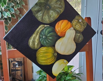 Love that Squash  - A realistic original Oil painting on canvas of Squash