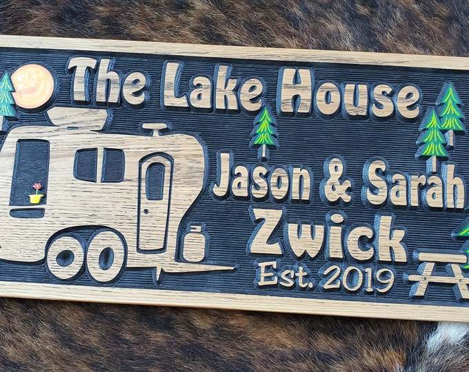 Personalized Camper Sign - Life is a Highway - Bumper Pull Camper -Tiny House - Carved Wood Customized Hand painted - This is how we Roll RV