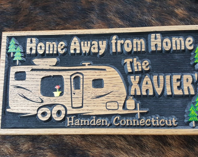 Personalized Camper Sign - Life is a Highway - Bumper Pull Camper -Tiny House - Carved Wood Customized Hand painted - Home Away from Home