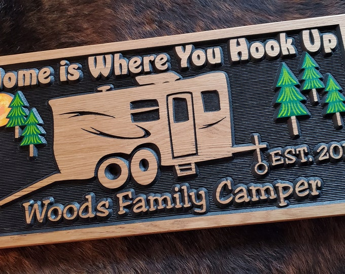 Personalized Bumper Pull RV Toy Hauler Sign - Camping Life is Good Carved Wood - Boys and Their Toys