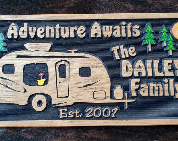Personalized Camper Sign - R Pod Camper -Tiny House - Carved Wood Customized Hand painted - Home is Where We Park It