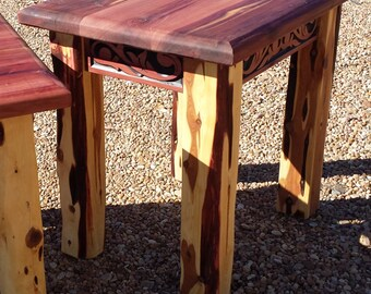 Aromatic Cedar End Table With Western Belt Carving