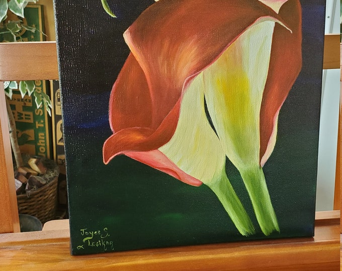 Red Calla Lilies  - A realistic Oil painting on canvas of Red Calla Lilies