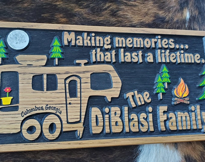 5th Wheel RV Sign - Camping Life is Good - Carved Wood Hand Painted - Made in USA - Glamping