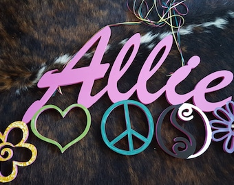 Name or Word Wall Art Large Fun Cutout - Featuring Symbols of Love and Care - Great for the kids room!