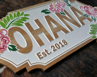 Custom Designed Beach House Sign - OHANA - Family
