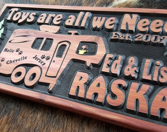 Personalized 5th Wheel RV Toy Hauler Sign - Camping Sign - Carved Wood - Toys are all we Need