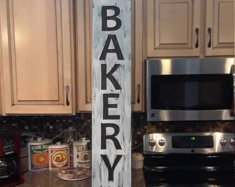 Carved Wood fARMhOUSE Designs - Hand painted Vertical Bakery - Rustic Black and White Look - Made in USA for any Home