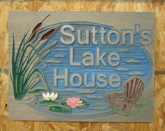 Personalized Lake House  or Beach House Sign Carved Wood Hand painted original design Barn wood Finish
