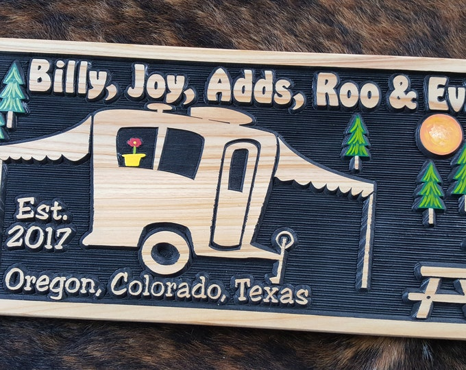 Personalized Pop-up RV Sign, Camper Sign or Tiny House.  Carved Wood Sign Hand painted and Customized - Made in USA