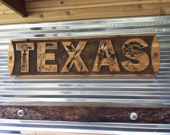 TEXAS Life - Rustic Wall Decor or Head Board for Bed Carved Wood Country or Farm House and Ranch Home