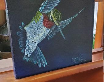 Ruby Throat Hummingbird  - A realistic original Oil painting of a Ruby Throat Hummingbird in flight