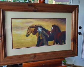 Getting out of the Storm  - A giclée print on paper, matted, and custom framed with glass...3 Horses and Cowgir