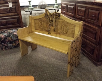 Saddle Style Bench in Pine Carved Wood Features Country Farmhouse or Rustic Ranch Decor Hand painted and finished Original Design Made USA