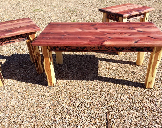 Aromatic Cedar Coffee and End Table Set with Western Belt Carving