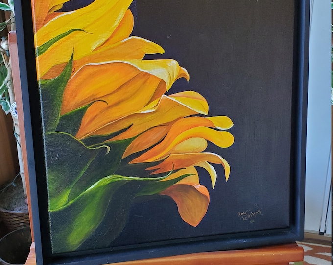 Sunflower - A realistic original Oil painting on canvas of a Sunflower