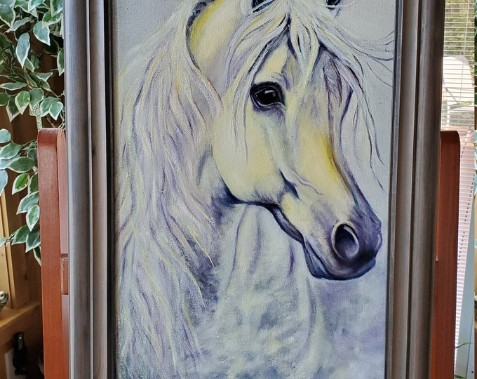 Rainbow Horse  - A realistic Oil painting on canvas of a white horse