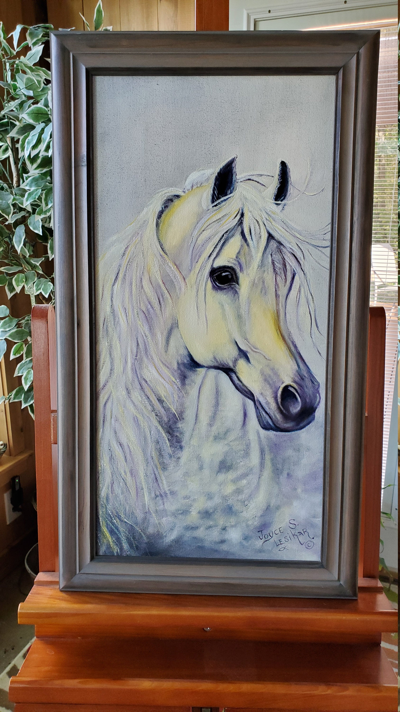 Rainbow Horse A Realistic Oil Painting On Canvas Of A White Horse