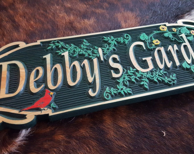 The Garden Sign - Highlighted by Vines, flowers and a Red Bird - Gardening Carved wood Sign Hand painted Original design