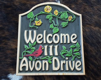 Colorful Address or Welcome Sign - Highlighted by Vines, flowers and a Red Bird - Carved wood Sign Hand painted Original design