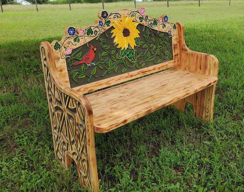 Admirable Red Bird Sunflower Garden Or Porch Bench Carved Pine Wood Country Farmhouse Rustic Ranch Decor Hand Painted Original Design Creativecarmelina Interior Chair Design Creativecarmelinacom