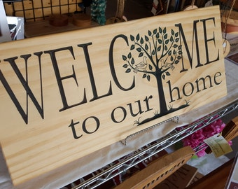 Personalized Welcome Home Carved Wood Hand painted Customized for You Made in USA for Country Farmhouse or any Home