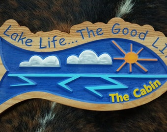 A Colorful and Fun Personalized Lake, Beach, or Island House Sign