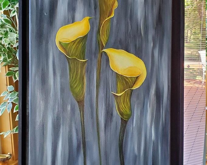 Calla Lilies  - A realistic Oil painting on canvas of yellow Calla Lilies