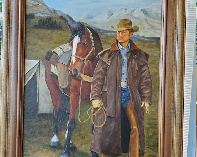 Going Hunting  - A realistic Oil painting on canvas of an Old west cowboy going hunting with pack horse
