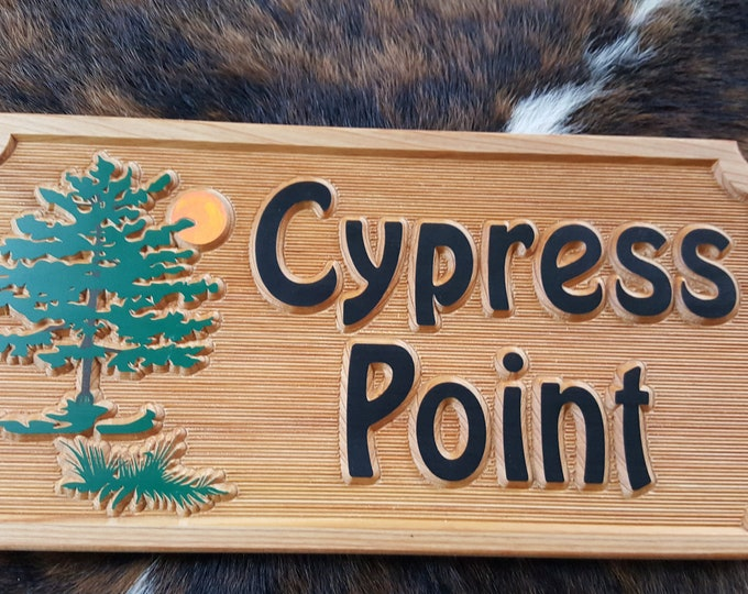 Personalized  Welcome / Address Sign featuring a beautiful Cypress Tree Scene. Carved Wood Sign Customized to your needs.