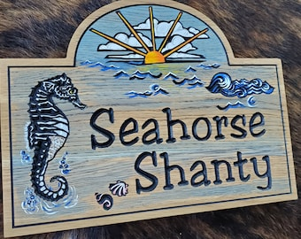 Personalized Beach House  or Island House Carved Wood Sign - Seahorse