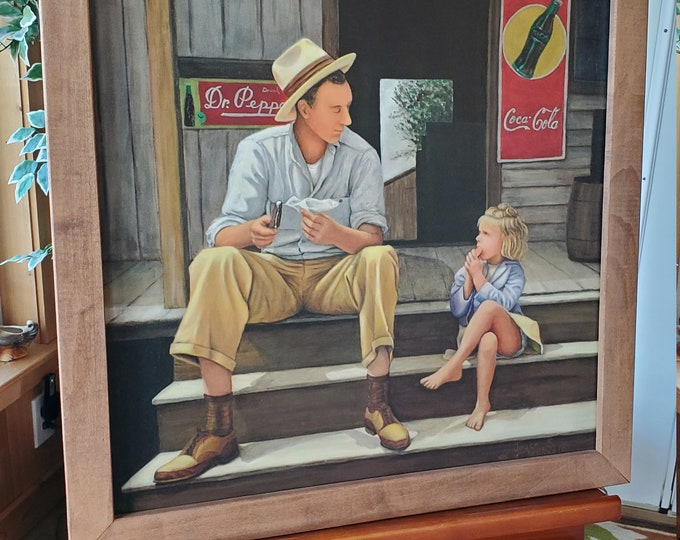 Saturday Treat  - A giclée print on canvas, and custom framed of Dad and daughter enjoying ice cream
