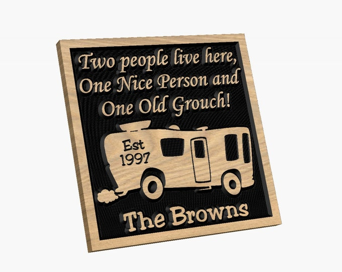 Personalized RV Class A Sign - Camping - Two People Live Here Carved wood Sign Hand painted Personalized Customized