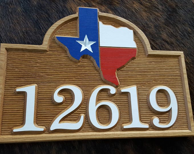 For the Texan in You...  Red White & Blue Texas - Hand Painted with Care Carved Wood Original Design Made in USA - Texas Address Sign