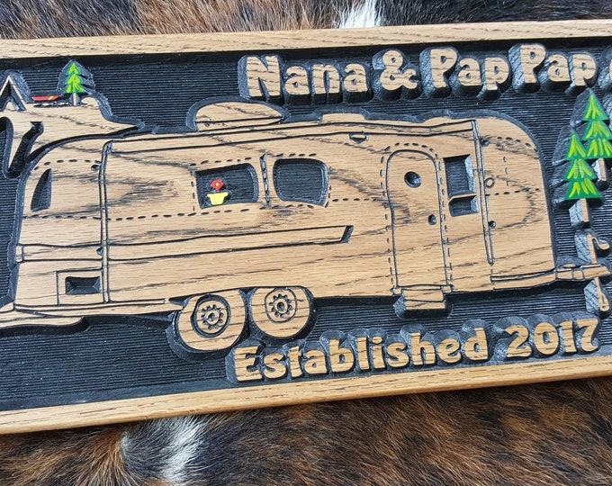 Personalized Airstream Camper Sign - Tiny House - Bumper Pull Camper - Carved Wood Sign Customized