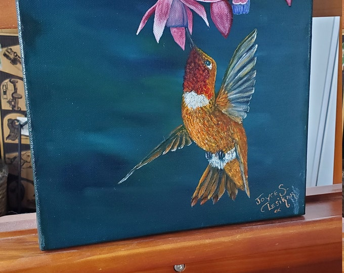 Rufous Hummingbird  - A realistic original Oil painting of a Rufous Hummingbird in flight