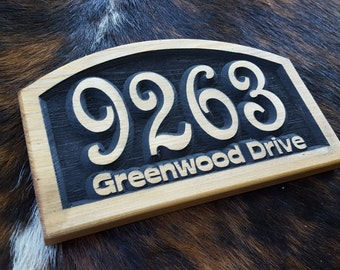 Personalized Arch Top Address Marker with Raised Numbers Cut to Order