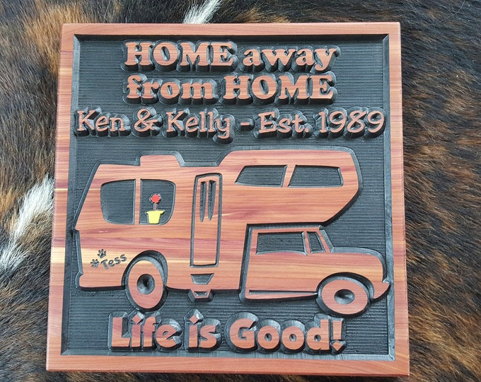 Personalized Class C RV Sign - Living on Camper Time or Tiny House Time Carved wood Hand painted Customized Made in USA