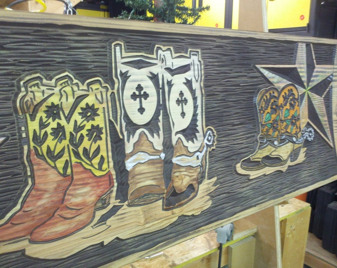 These Boots Custom Wall Hanging - Rustic Wall Decor - Makes a Great Headboard Rustic Carved Wood Handpainted