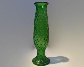 Vintage Green Glass E.O. Brody Bud Flower Vase, Vintage E.O. Brody Textured Glass Floral Vase
