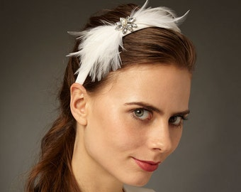 Bridal Headband with Feathers and Deco Crystals: 'Federica'