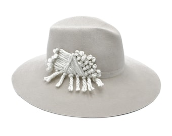Kitty Winter White Large Felt Fedora with Embroidery 44a82f24a40