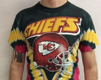 90788e885aa Vintage 90 s Kansas City Chiefs Football Tie-Dye T-shirt (Size M)